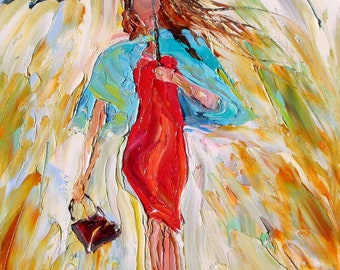 Print on canvas - Rain Dance Two - made from image of oil painting by Karen Tarlton impressionistic palette knife fine art