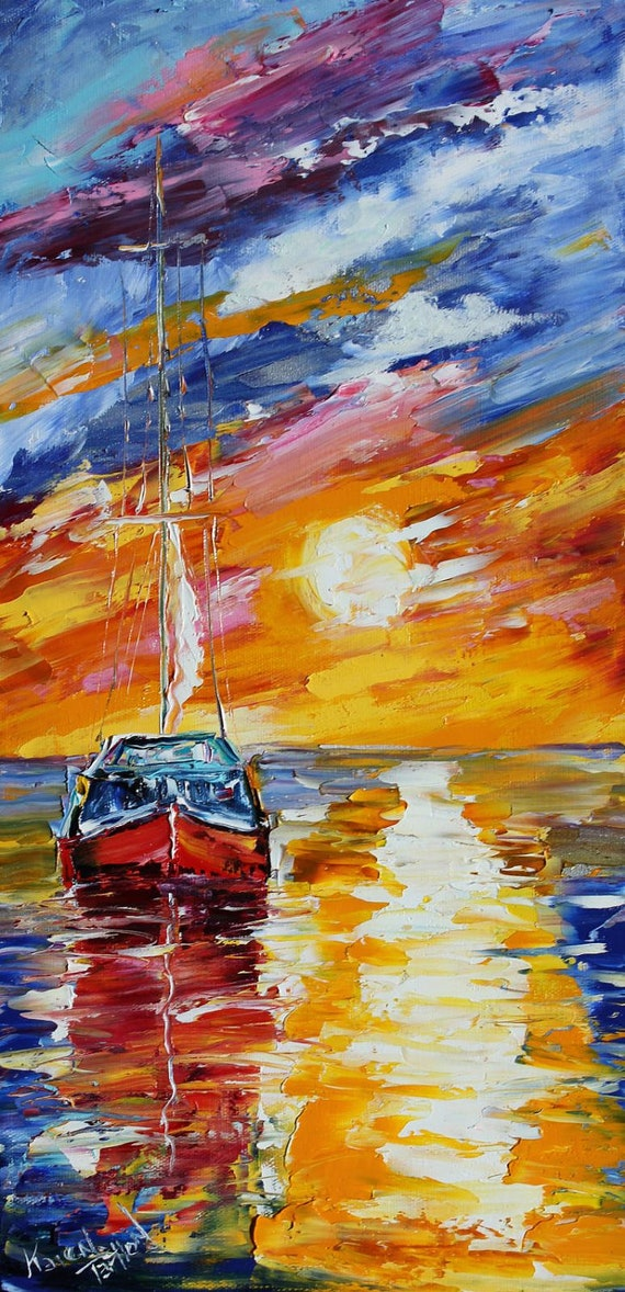 Original oil painting Sunset Sail Boat palette knife impressionism on canvas fine art by Karen Tarlton