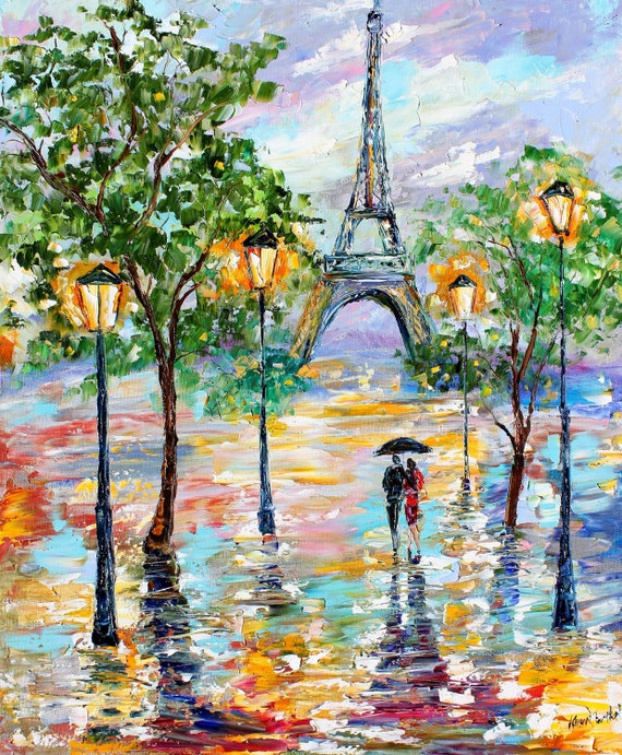 Impressionism Paris: Items Similar To Original Painting PARIS Rain Cityscape