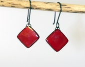 Red Diamond Clay Earrings