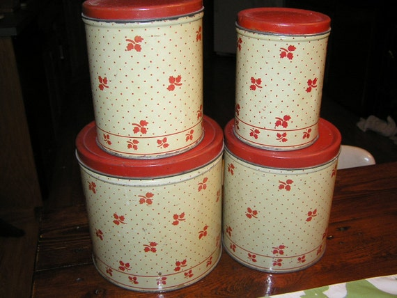 Vintage Empeco Canister Set Red and Ivory with Polka Dots and Clover Leaves