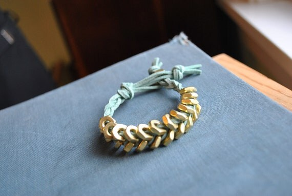 Brass Hex Nut Bracelet With Mint Suede Cord