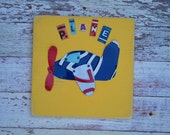 Customizable Airplane License Plate Art - Navy Red Yellow Funky Transportation Plane Adventure Boys Pilot - Recycled Art Company - Artwork