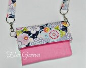 Choose Any Fabric in My Shop or Cherry Blossom Tri-fold Phone Passport Wallet Purse Includes Shoulder Strap
