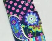 Grey Paisley Aqua Pink Purple Crochet Hook Organizer / Case with Finishing Needle Holder and Zipper Pocket