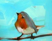 Dancing Robin Bird Art Print by Angela Moulton 5 x 5 inches prattcreekart