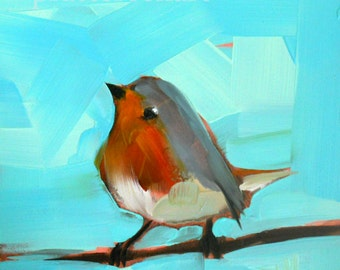 Dancing Robin Bird Art Print by Angela Moulton 5 x 5 inches prattcreekart