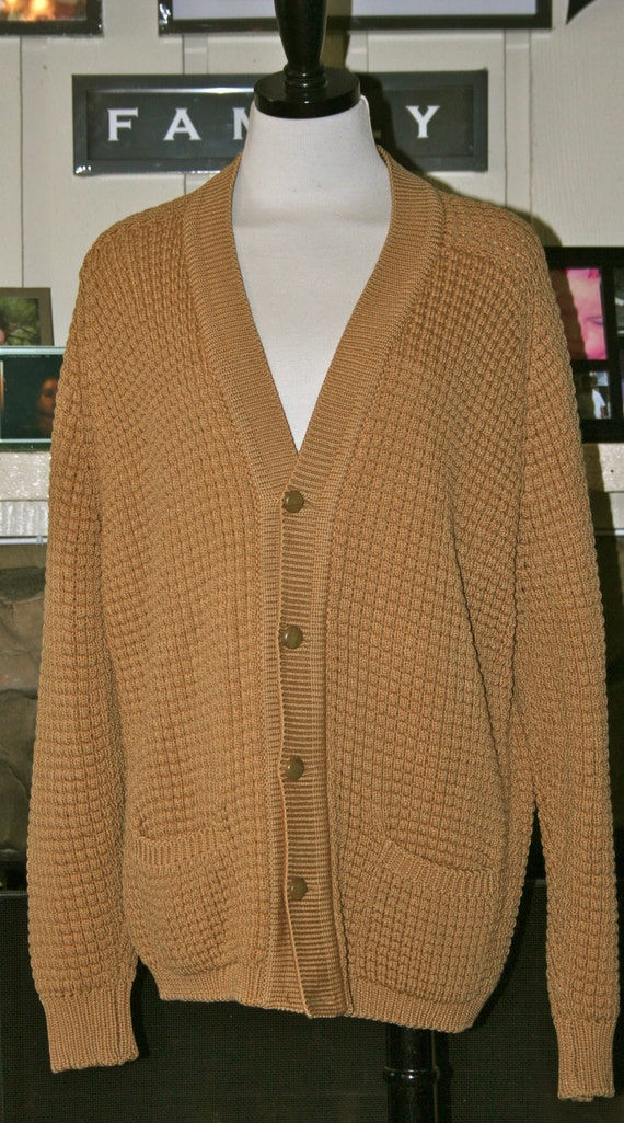 1960's/1970's Sherpa Textured Wool Cardigan for Men Vintage Irish Knitware