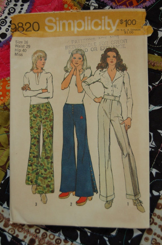 1970s Vintage Sewing Pattern - Simplicity 9820 - Regular Waist or Hip Hugger Pants - Sz 16