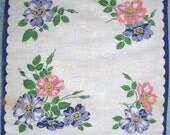 Pink and Blue Flower Print Handkerchief