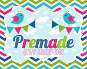 Clouds, Chevron and Chirps - Premade Etsy Set