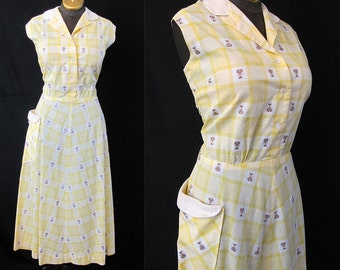 "Clearance Sweet 1940's  XL Pale Yellow Plaid Cotton Day Dress w/ Palm Trees by ""Beaumart"" VLV Rockabilly WW2 Pinup Girl Curvy- Size X-Large"