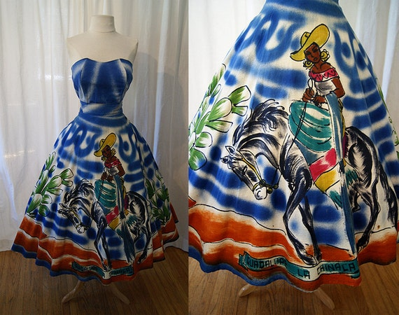 On Hold Best Ever 1950's hand painted blue Mexican skirt and bustier top signed by artist Mexicana rockabilly rare - size Medium to Large