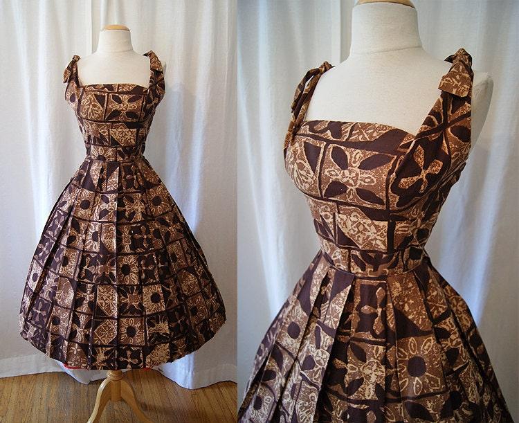 Killer 1950 S Brown Tribal Print Cotton Hawaiian Shaheen