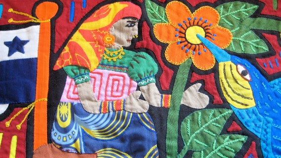 Vintage Textile Mexican Mola Pillow Covering