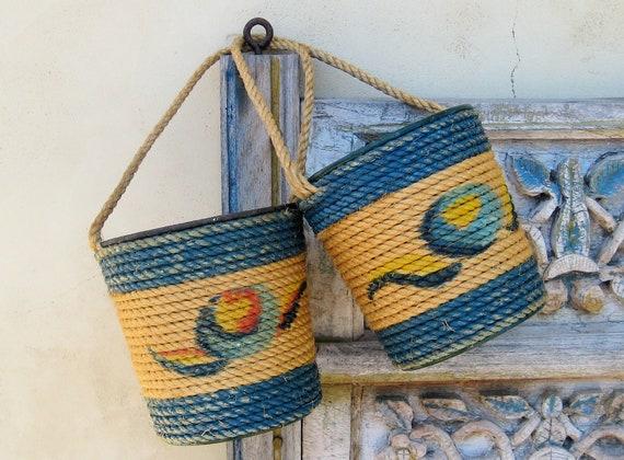 Vintage Antique Rope Pails Beach Bucket Pair