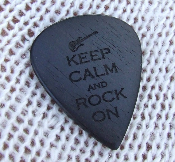 Keep Calm and Rock On - Handmade Laser Engraved Exotic Gabon Ebony Premium Guitar Pick
