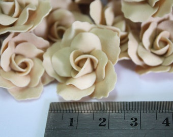 Handcrafted Miniature Nude Roses Polymer Clay Flowers Supplies 10 pcs, ASSORTED 2 SIZES