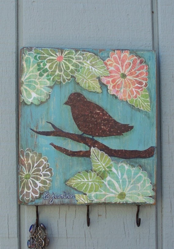 Le Jardin - Bird and Flowers, Decoupaged Reclaimed Wood Wall Decor - Key hooks, Wall hook, Cottage Chic