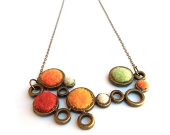 Orange Red Circle Fall Necklace