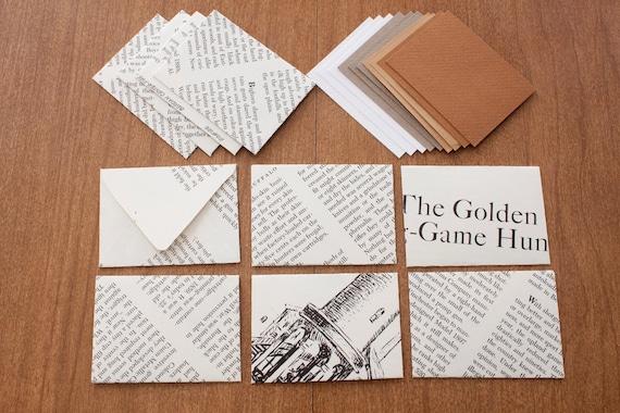 Vintage Recycled Book Envelope Set- Mini