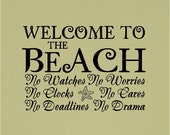 Welcome to the beach..... Beach Wall Quotes Words Sayings Removable Beach Wall Decal Lettering