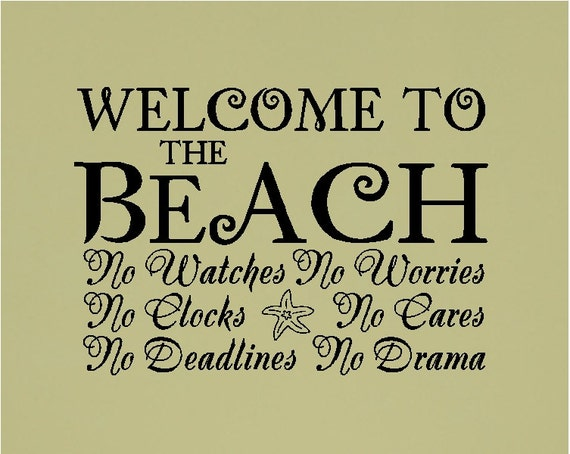 Beach Quotes: Items Similar To Welcome To The Beach..... Beach Wall