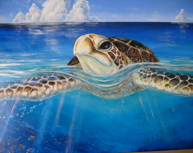 A Peace of the Tropics - Tropical Sea Turtle Art - Large ORIGINAL Oil Painting - Tropical Hawaiian Ocean Art Christie Marie Elder