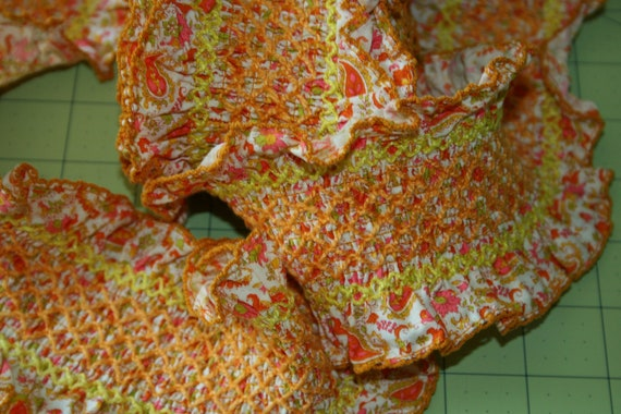 SALE Vintage Ebroidered Trim ruffled paisley wide trim orange yellow Double ruffle non stretch shirred detail diamond grid embroidery 4yard
