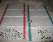 2 Pure Linen Towels Striped New Old Stock Made in Poland Vintage Kitchen Linens Kitchen Gift Basket NOS