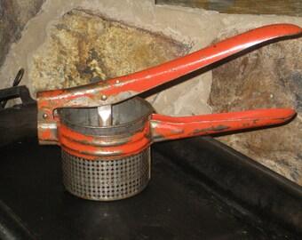 Red Handle Potato Ricer Masher Antique Tool Rustic Farmhouse Vintage Kitchen
