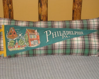 Big Bolster Pennant Pillow Philadelphia Souvenir Pennant Cabin Decor Green Tartan Plaid Fabric Unique Gift