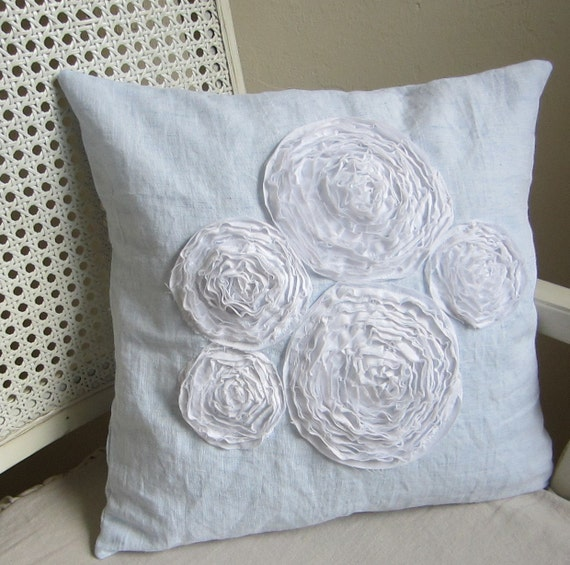 Blue and white ranunculus cluster pillow cover