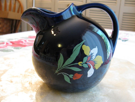 Small Cobalt Blue Hall Ball Pitcher With Iris Flowers By