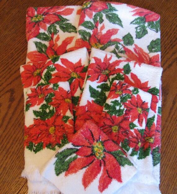 Christmas Kitchen Towels At Walmart: 2 Sets Vintage Poinsettia Christmas Bath Towels By Gaelianna