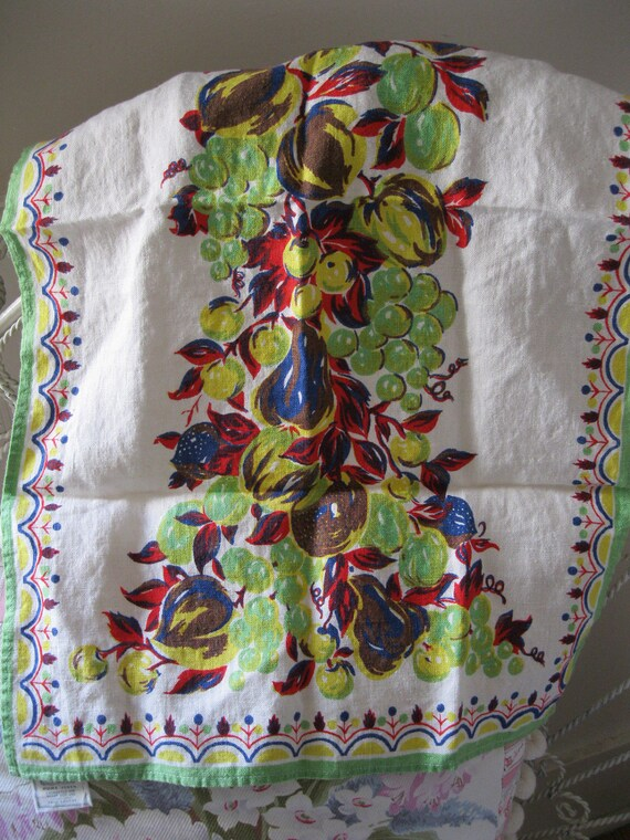 Fab Vintage 1940's Printed Fruits Linen Kitchen Hand Towel