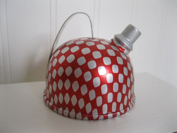 Cute Vintage TIN Aluminum Litho Teakettle Tea Kettle Teapot RED DOTS