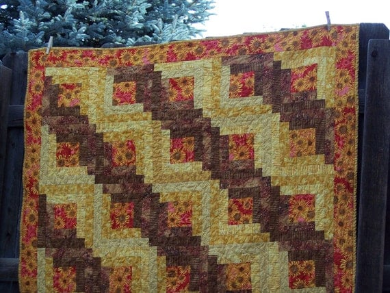 Sunflowers In My Cabin Lap Quilt