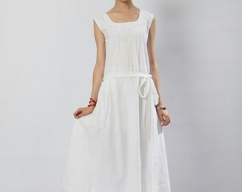 Stereo Hearts-White clear linen Sundress(more colour and size choice)