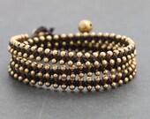 Brown Stud Brass Wrap Bracelet
