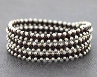Brown Stud Silver Wrap Bracelet