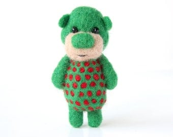 Deep green pocket bear with red polka dots 13