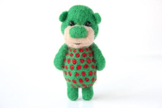Deep green pocket bear with red polka dots 13