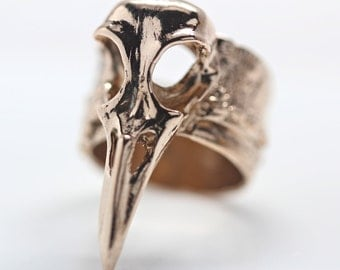 Raven skull ring in jewelers bronze  wide comfort fit tree bark band
