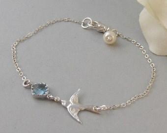 Sparrow's Breeze,Sparrow Bracelet,Bird Bracelet,Aquamarine Bracelet,Aquamarine Birthstone,Aquamarine Jewlery,Sparrow valleygirldesigns