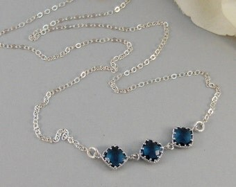 Something Blue,Necklace,Silver Necklace,Sapphire Necklace,Sapphire,Sterling Silver,Blue,Wedding. Handmade jewelery by valleygirldesigns.