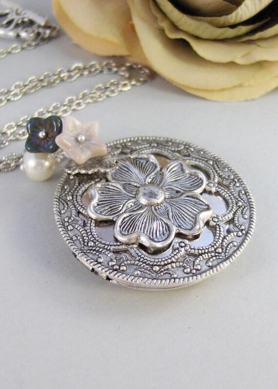 Midnight Bloom,Locket,Silver Locket,Blossom,Flower,Blue,Ivory,Antique Locket,Night,Pearl,Jewelry. Handmade jewelry by valleygirldesigns.