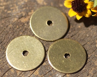 Brass 15mm Donut Washer 24G Blanks Cutout for Enameling Stamping Texturing, Metalworking Supplies - 8 Pieces