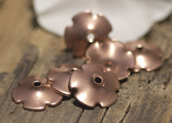 Copper Flower 13.5mm 20g Tiny Petals Beadcap Center Blank for Enameling Stamping Texturing Jewelry Making Blanks - Variety of Metals