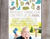 Modern Zoo Birthday Party Invitation Photo